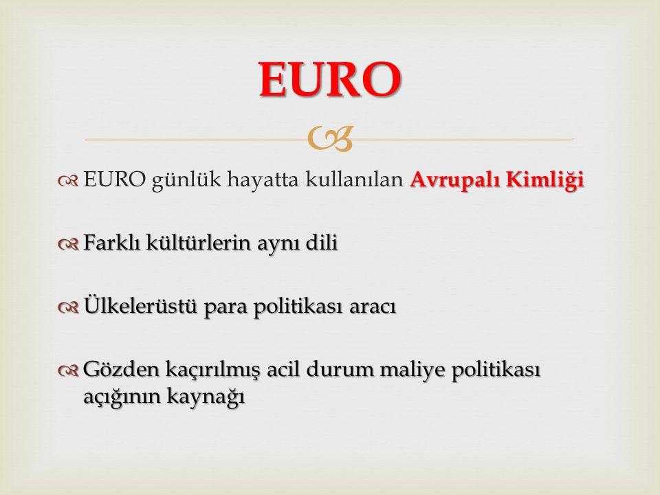  Avrupalı Kimliği  EURO günlük hayatta kullanılan Avrupalı Kimliği  Farklı kültürlerin aynı dili  Ülkelerüstü para politikası aracı  Gözden kaçırılmış acil durum maliye politikası açığının kaynağı EURO