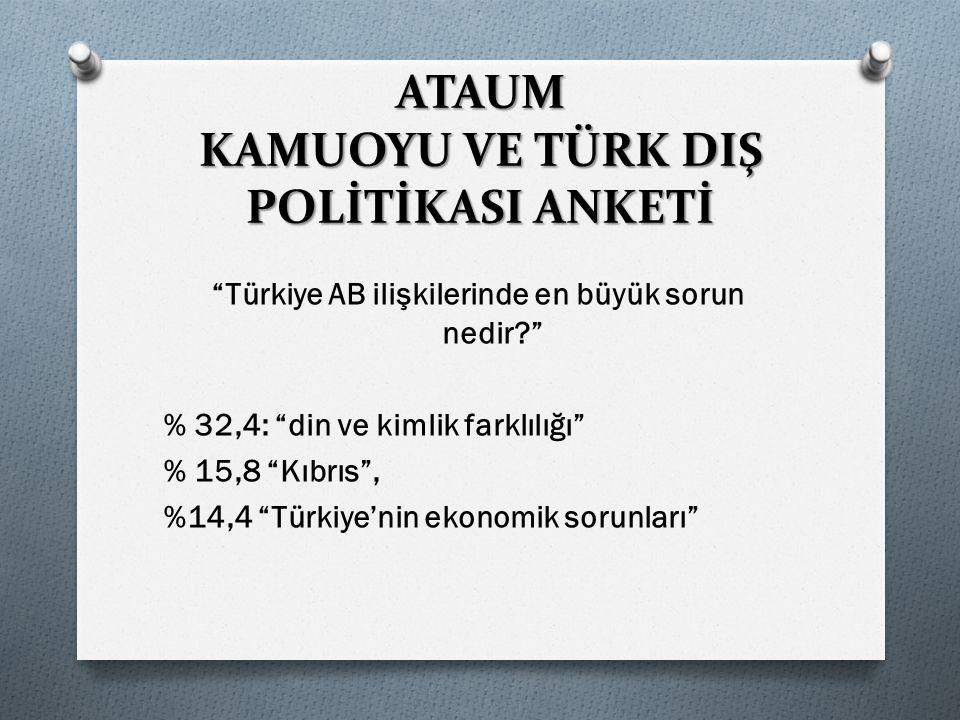 Türkiye AB ilişkilerinde en büyük sorun nedir? % 32,4: din ve kimlik farklılığı % 15,8 Kıbrıs , %14,4 Türkiye'nin ekonomik sorunları