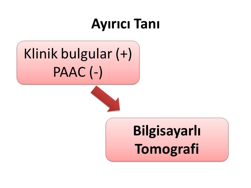 Ayırıcı Tanı Klinik bulgular (+) PAAC (-) Klinik bulgular (+) PAAC (-) Bilgisayarlı Tomografi
