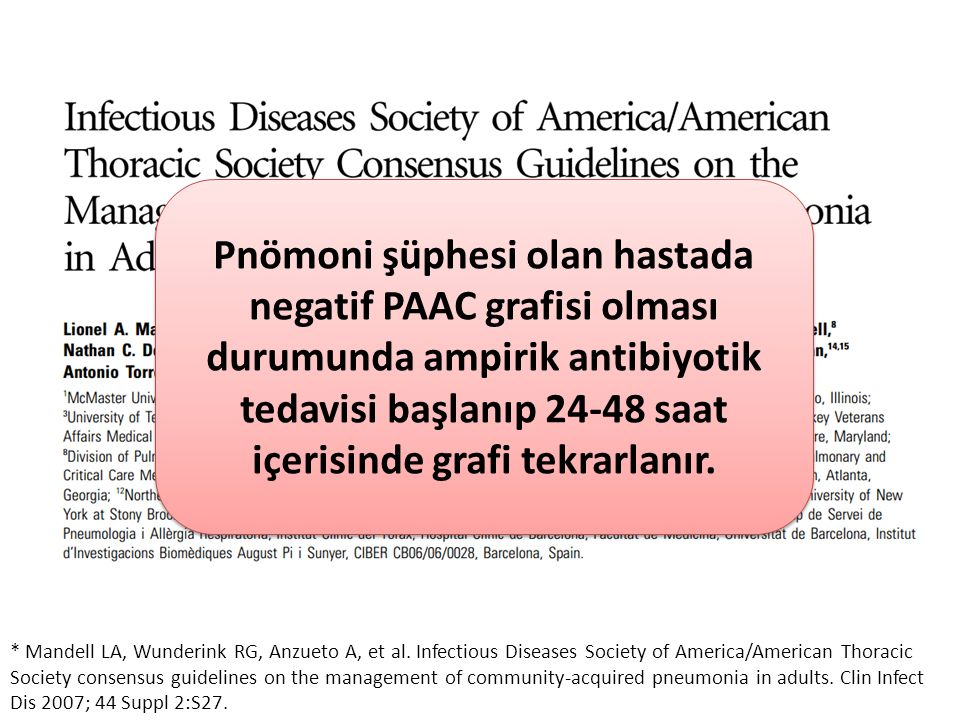 * Mandell LA, Wunderink RG, Anzueto A, et al. Infectious Diseases Society of America/American Thoracic Society consensus guidelines on the management