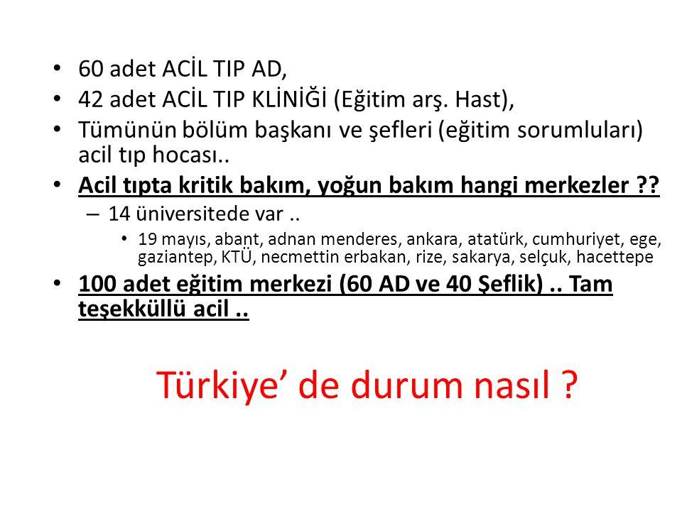 Türkiye' de durum nasıl . 60 adet ACİL TIP AD, 42 adet ACİL TIP KLİNİĞİ (Eğitim arş.