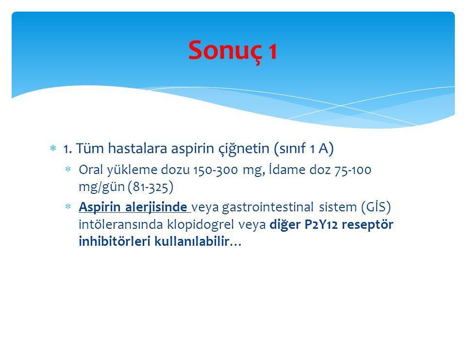  1. Tüm hastalara aspirin çiğnetin (sınıf 1 A)  Oral yükleme dozu 150-300 mg, İdame doz 75-100 mg/gün (81-325)  Aspirin alerjisinde veya gastrointe