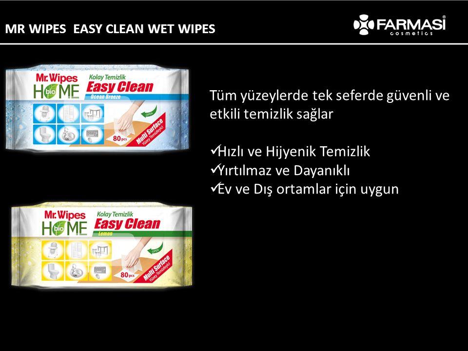 Tüm yüzeylerde tek seferde güvenli ve etkili temizlik sağlar Hızlı ve Hijyenik Temizlik Yırtılmaz ve Dayanıklı Ev ve Dış ortamlar için uygun MR WIPES EASY CLEAN WET WIPES