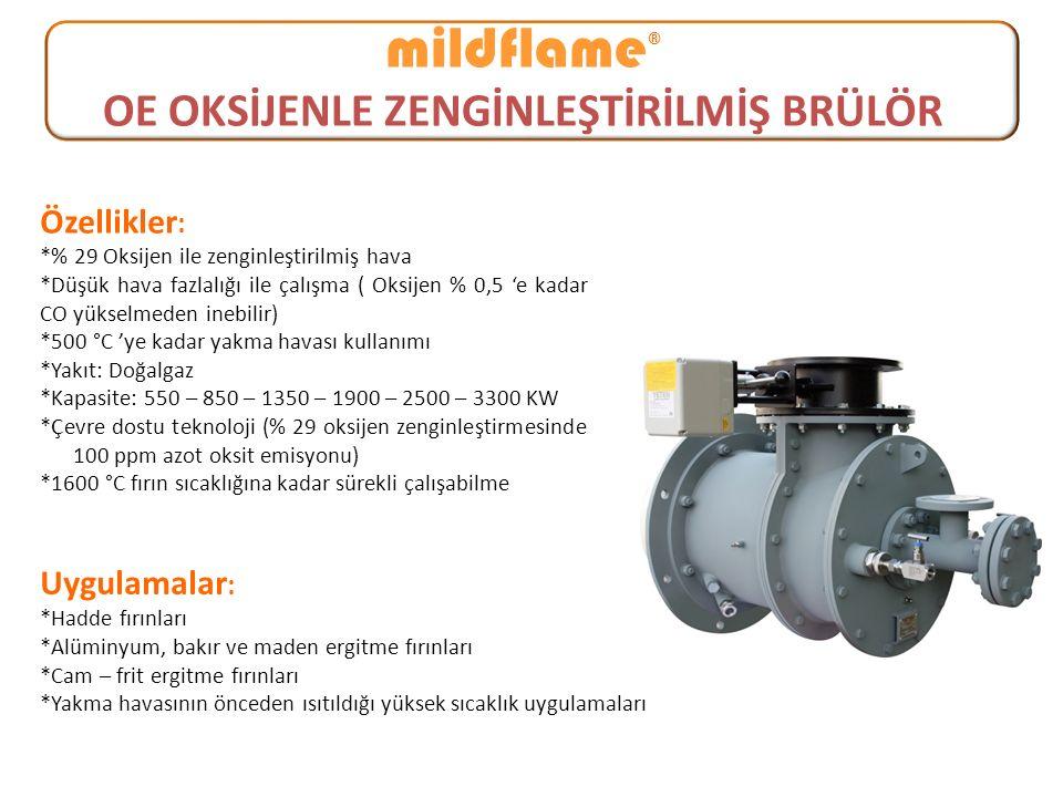 mildflame ® OE OKSİJENLE ZENGİNLEŞTİRİLMİŞ BRÜLÖR Özellikler : *% 29 Oksijen ile zenginleştirilmiş hava *Düşük hava fazlalığı ile çalışma ( Oksijen %