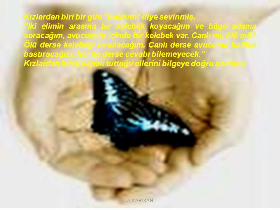 """Kızlardan biri bir gün """"buldum"""" diye sevinmiş. """"İki elimin arasına bir kelebek koyacağım ve bilge adama soracağım, avucumun içinde bir kelebek var. Ca"""