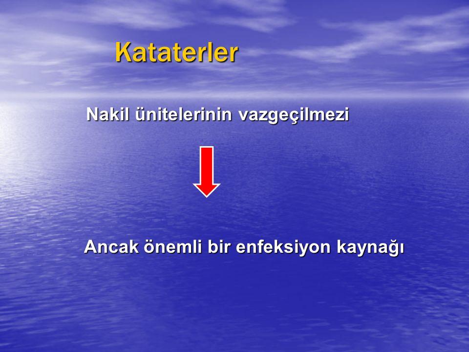 Kataterler Kataterler Nakil ünitelerinin vazgeçilmezi Nakil ünitelerinin vazgeçilmezi Ancak önemli bir enfeksiyon kaynağı Ancak önemli bir enfeksiyon