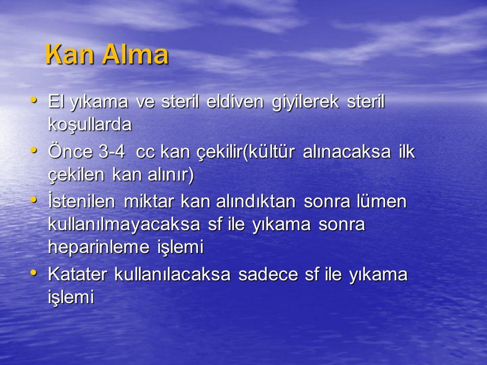 Kan Alma Kan Alma El yıkama ve steril eldiven giyilerek steril koşullarda El yıkama ve steril eldiven giyilerek steril koşullarda Önce 3-4 cc kan çeki