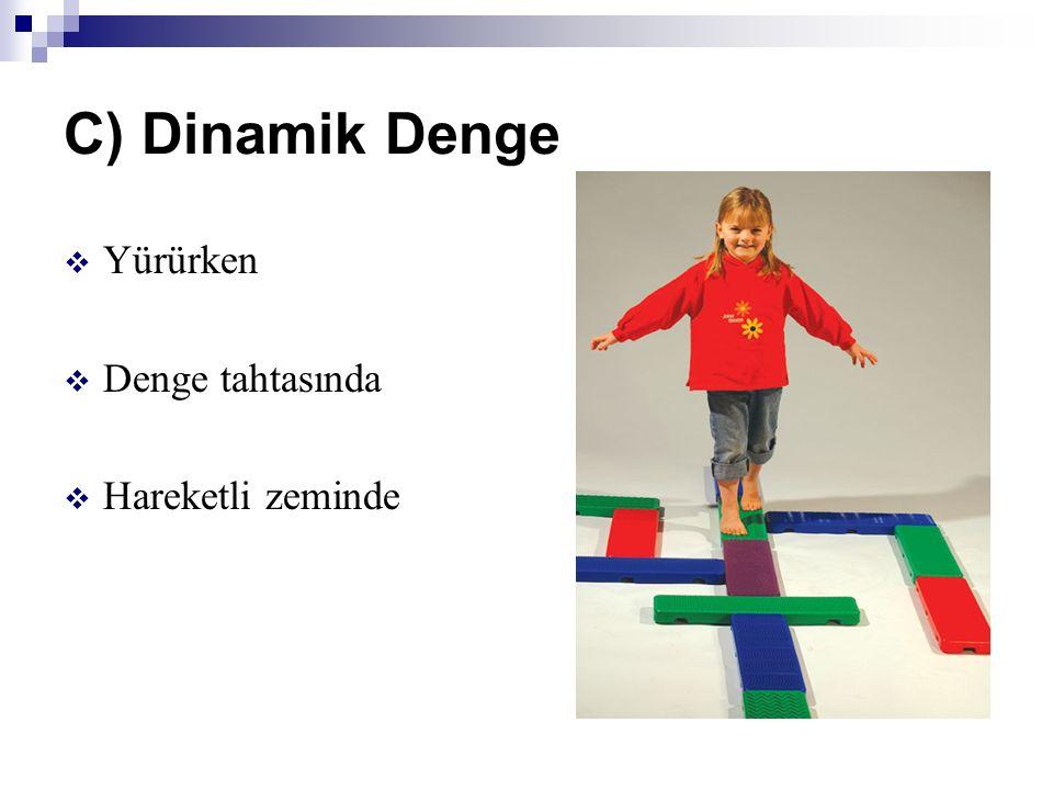 C) Dinamik Denge  Yürürken  Denge tahtasında  Hareketli zeminde
