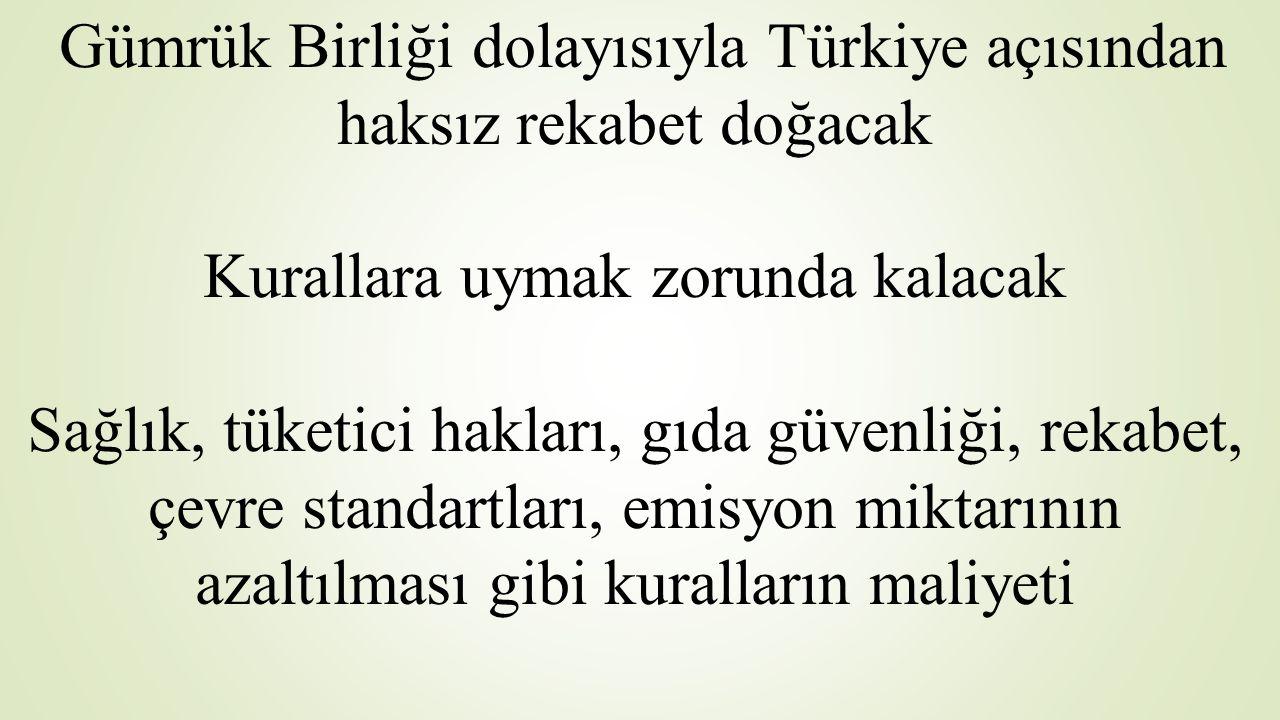 Gümrük Birliği dolayısıyla Türkiye açısından haksız rekabet doğacak Kurallara uymak zorunda kalacak Sağlık, tüketici hakları, gıda güvenliği, rekabet,