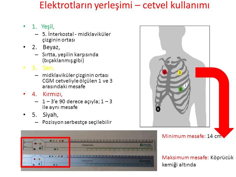 Elektrotların yerleşimi – cetvel kullanımı 1. Yeşil, – 5. İnterkostal - midklaviküler çizginin ortası 2. Beyaz, – Sırtta, yeşilin karşısında (bıçaklan
