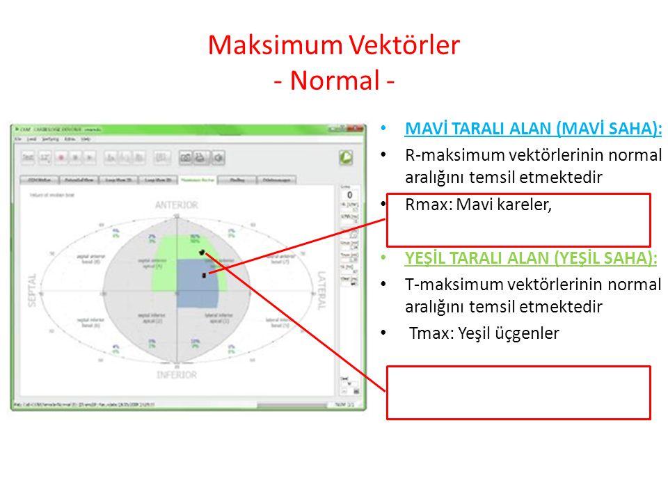 Maksimum Vektörler - Normal - MAVİ TARALI ALAN (MAVİ SAHA): R-maksimum vektörlerinin normal aralığını temsil etmektedir Rmax: Mavi kareler, YEŞİL TARALI ALAN (YEŞİL SAHA): T-maksimum vektörlerinin normal aralığını temsil etmektedir Tmax: Yeşil üçgenler