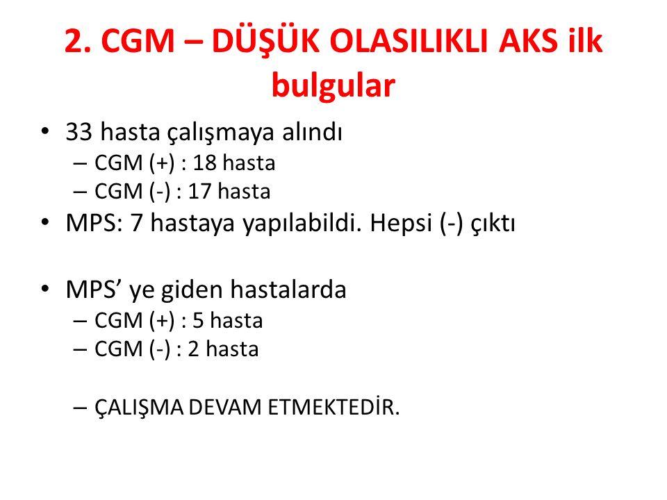 2. CGM – DÜŞÜK OLASILIKLI AKS ilk bulgular 33 hasta çalışmaya alındı – CGM (+) : 18 hasta – CGM (-) : 17 hasta MPS: 7 hastaya yapılabildi. Hepsi (-) ç