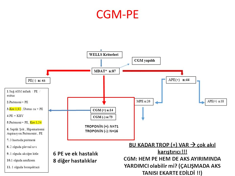 CGM-PE 1.Sağ ASM infark / PE / exitus 2.Pnömoni + PE 3.Kre:1,92 /,Uterus ca + PE 4.PE + KBY 5.Pnömoni + PE, Kre:1,54 6.