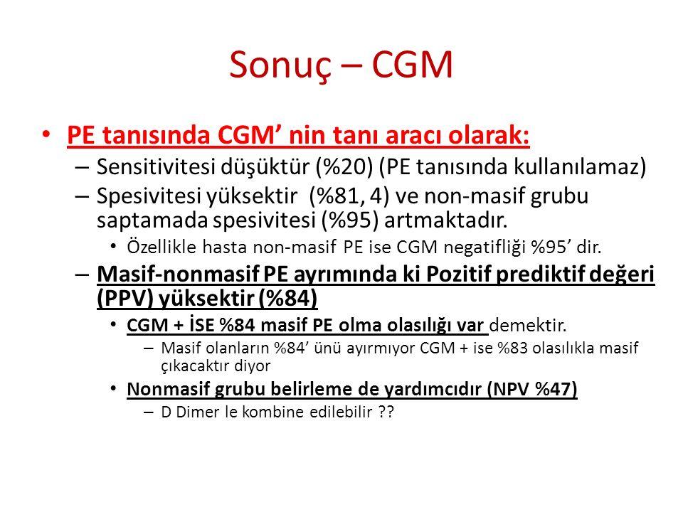 Sonuç – CGM PE tanısında CGM' nin tanı aracı olarak: – Sensitivitesi düşüktür (%20) (PE tanısında kullanılamaz) – Spesivitesi yüksektir (%81, 4) ve non-masif grubu saptamada spesivitesi (%95) artmaktadır.