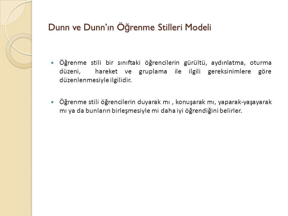 Dunn ve Dunn'ın Ö ğ renme Stilleri Modeli Öğrenme stili bir sınıftaki öğrencilerin gürültü, aydınlatma, oturma düzeni, hareket ve gruplama ile ilgili gereksinimlere göre düzenlenmesiyle ilgilidir.