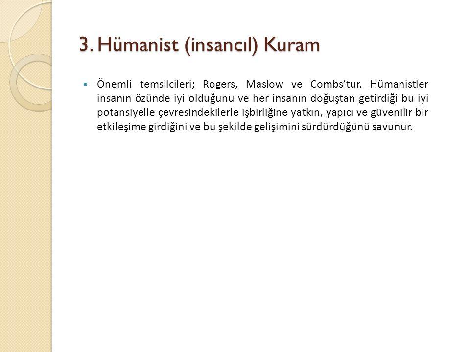 3.Hümanist (insancıl) Kuram Önemli temsilcileri; Rogers, Maslow ve Combs'tur.