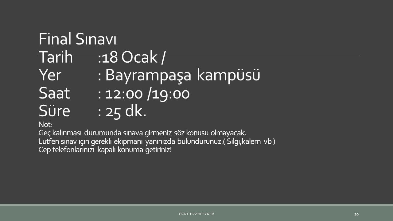 Final Sınavı Tarih:18 Ocak / Yer: Bayrampaşa kampüsü Saat: 12:00 /19:00 Süre: 25 dk. Not: Geç kalınması durumunda sınava girmeniz söz konusu olmayacak