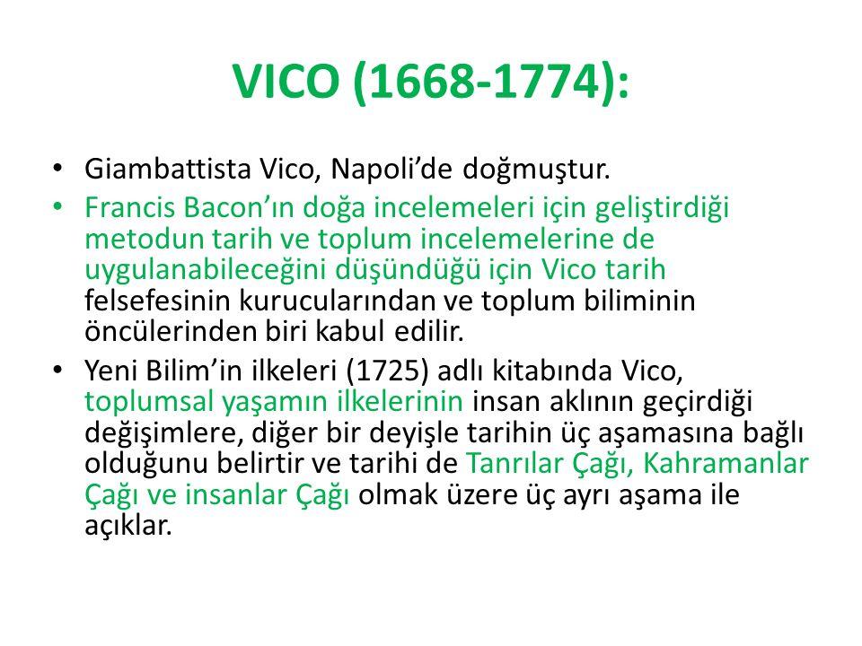 VICO (1668-1774): Giambattista Vico, Napoli'de doğmuştur. Francis Bacon'ın doğa incelemeleri için geliştirdiği metodun tarih ve toplum incelemelerine