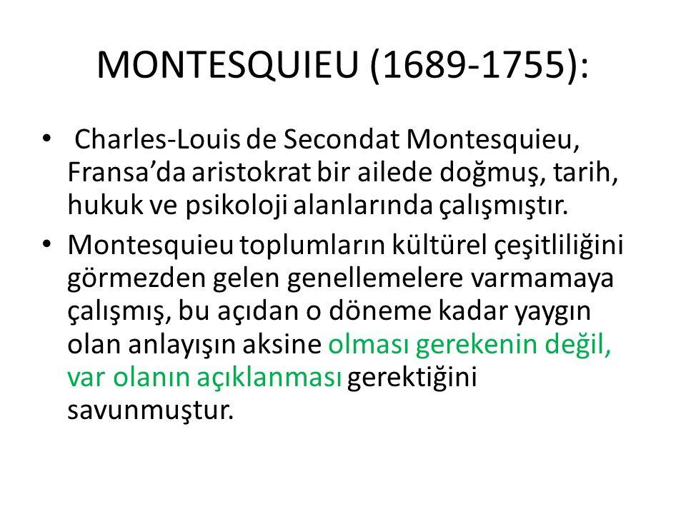 MONTESQUIEU (1689-1755): Charles-Louis de Secondat Montesquieu, Fransa'da aristokrat bir ailede doğmuş, tarih, hukuk ve psikoloji alanlarında çalışmış