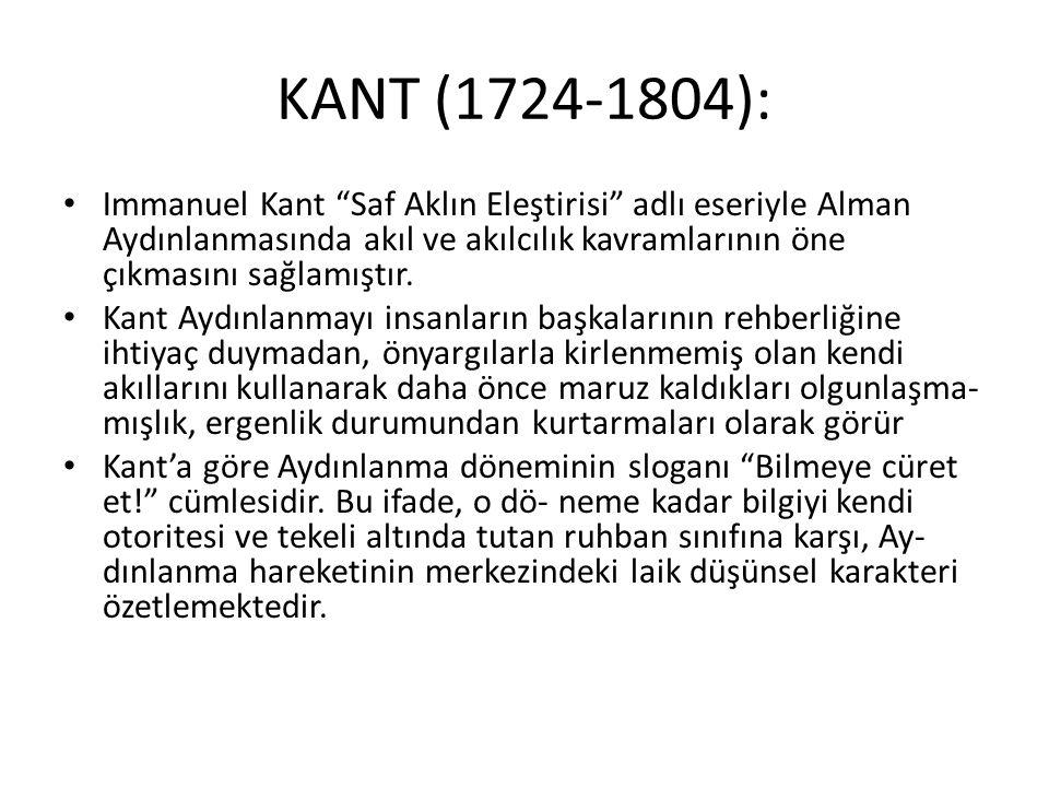 """KANT (1724-1804): Immanuel Kant """"Saf Aklın Eleştirisi"""" adlı eseriyle Alman Aydınlanmasında akıl ve akılcılık kavramlarının öne çıkmasını sağlamıştır."""