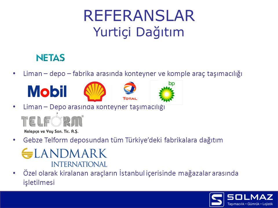 REFERANSLAR Yurtiçi Dağıtım Banner Hadımköy depodan tüm Türkiye'deki tedarikçilerine dağıtım Hadımköy Solmaz depodan tüm Türkiye'deki tedarikçilerine dağıtım Gebze Weidmüller deposundan tüm Türkiye'deki distribütörlerine parsiyel dağıtım Gebze Böllhoff deposundan tüm Türkiye'deki distribütörlerine parsiyel dağıtım