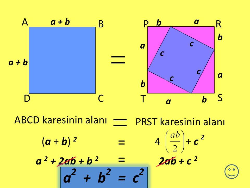 TEOREMİN İSPATI a ba b a ba b P R S T PRST, kenar uzunluğu a+b olan bir kare olsun. Karemiz c kenar uzunluklu bir kareye ve 4 tane eş üçgene ayrılmışt