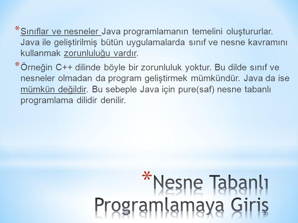 * Sınıflar ve nesneler Java programlamanın temelini oluştururlar.