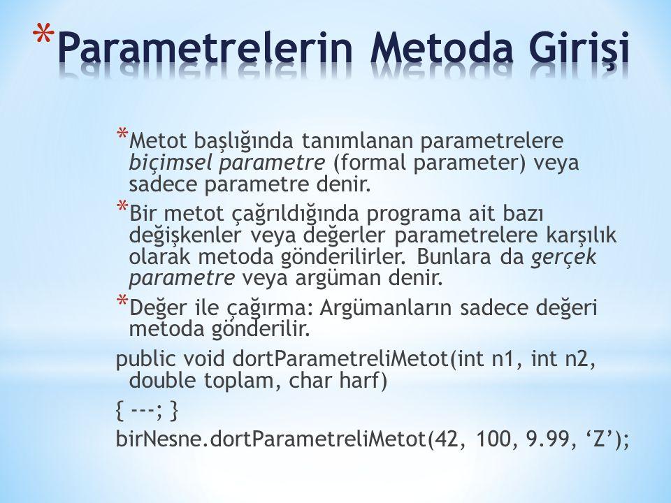* Metot başlığında tanımlanan parametrelere biçimsel parametre (formal parameter) veya sadece parametre denir.