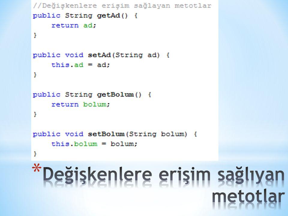 public class veriYolla { public int veriYazdir(String mesaj) { int say; System.out.println( Gelen mesaj: +mesaj); say=mesaj.length(); return say; } import java.util.Scanner; public class deneVeriYolla { public static void main(String[] args) { veriYolla veri=new veriYolla(); String ileti; int sembolSayisi; Scanner klavye = new Scanner(System.in); ileti=klavye.next(); sembolSayisi=veri.veriYazdir(ileti); System.out.println( Sembol sayisi= +sembolSayisi); }