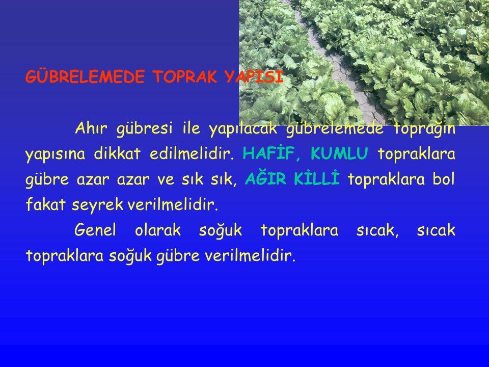 GÜBRELEMEDE TOPRAK YAPISI Ahır gübresi ile yapılacak gübrelemede toprağın yapısına dikkat edilmelidir. HAFİF, KUMLU topraklara gübre azar azar ve sık