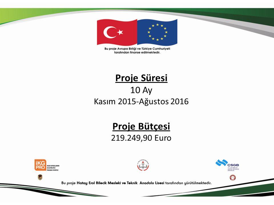 Proje Süresi 10 Ay Kasım 2015-Ağustos 2016 Proje Bütçesi 219.249,90 Euro