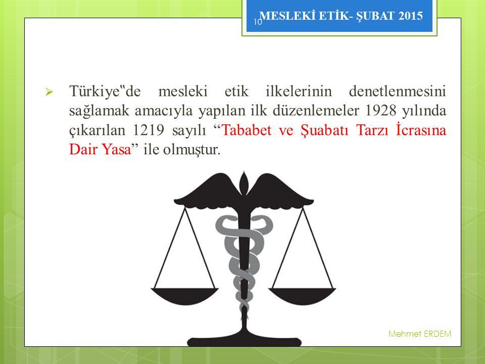 """MESLEKİ ETİK- ŞUBAT 2015  Türkiye """" de mesleki etik ilkelerinin denetlenmesini sağlamak amacıyla yapılan ilk düzenlemeler 1928 yılında çıkarılan 1219"""