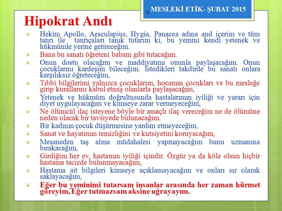 """MESLEKİ ETİK- ŞUBAT 2015  Türkiye """" de mesleki etik ilkelerinin denetlenmesini sağlamak amacıyla yapılan ilk düzenlemeler 1928 yılında çıkarılan 1219 sayılı Tababet ve Şuabatı Tarzı İcrasına Dair Yasa ile olmuştur."""