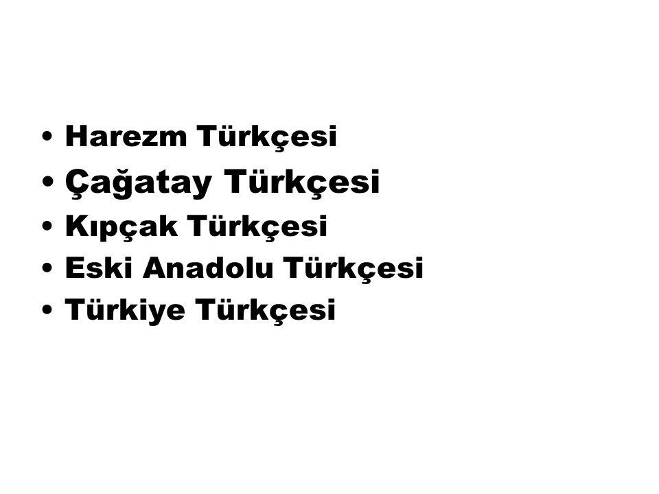 Harezm Türkçesi Çağatay Türkçesi Kıpçak Türkçesi Eski Anadolu Türkçesi Türkiye Türkçesi