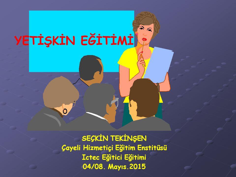 YETİŞKİN EĞİTİMİ SEÇKİN TEKİNŞEN Çayeli Hizmetiçi Eğitim Enstitüsü Ictec Eğitici Eğitimi 04/08. Mayıs.2015