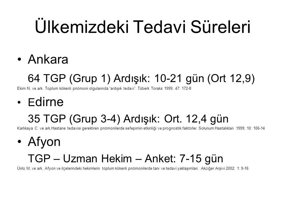 """Ülkemizdeki Tedavi Süreleri Ankara 64 TGP (Grup 1) Ardışık: 10-21 gün (Ort 12,9) Ekim N, ve ark. Toplum kökenli pnömoni olgularında """"ardışık tedavi""""."""