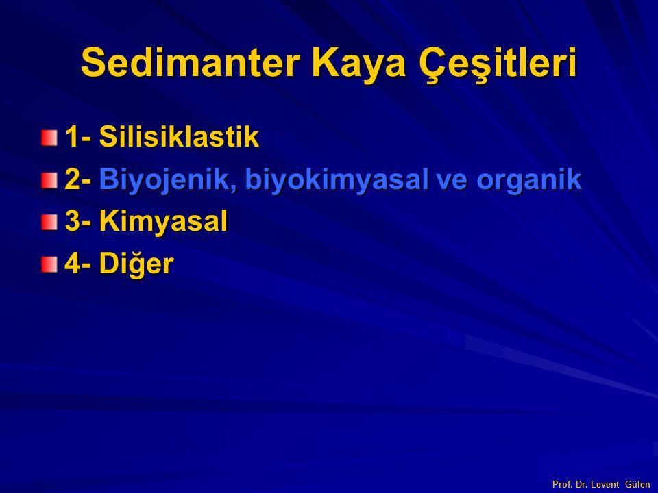 Sedimanter Kaya Çeşitleri 1- Silisiklastik 2- Biyojenik, biyokimyasal ve organik 3- Kimyasal 4- Diğer Prof. Dr. Levent Gülen