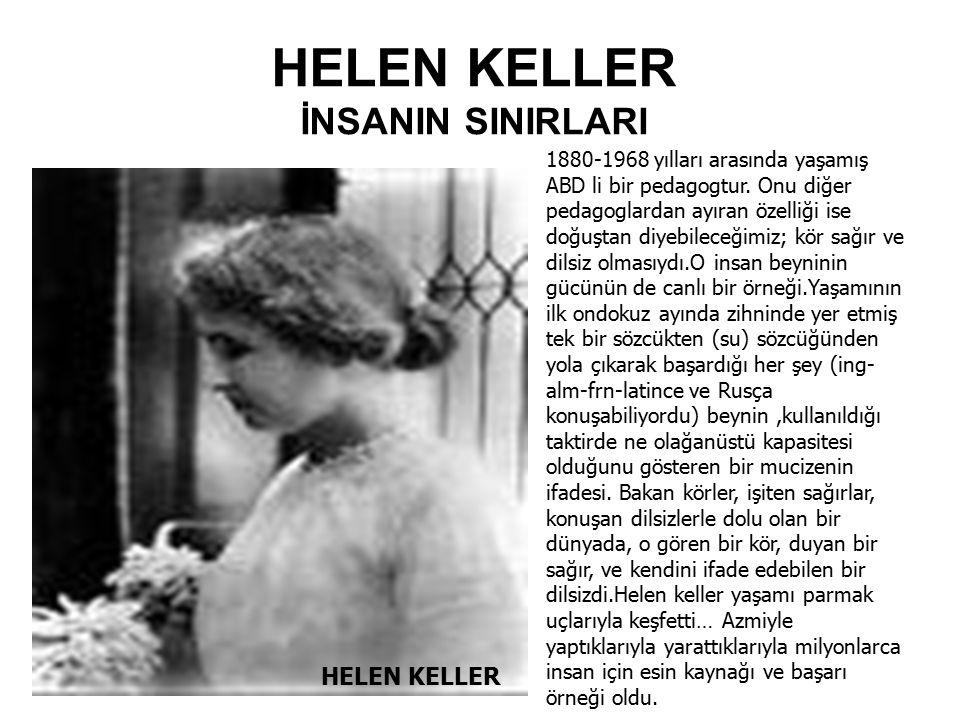 HELEN KELLER İNSANIN SINIRLARI HELEN KELLER 1880-1968 yılları arasında yaşamış ABD li bir pedagogtur. Onu diğer pedagoglardan ayıran özelliği ise doğu