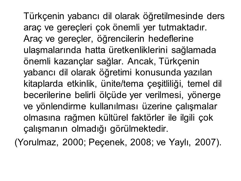 Bulgular Türkçenin yabancı dil olarak öğretilmesinde kullanılan ders kitaplarındaki kültürel ögeler Yeni Hitit serisinde bulunan her ders kitabı 12 üniteden oluşmaktadır ve her ünite 3 alt konuya ayrılmıştır.