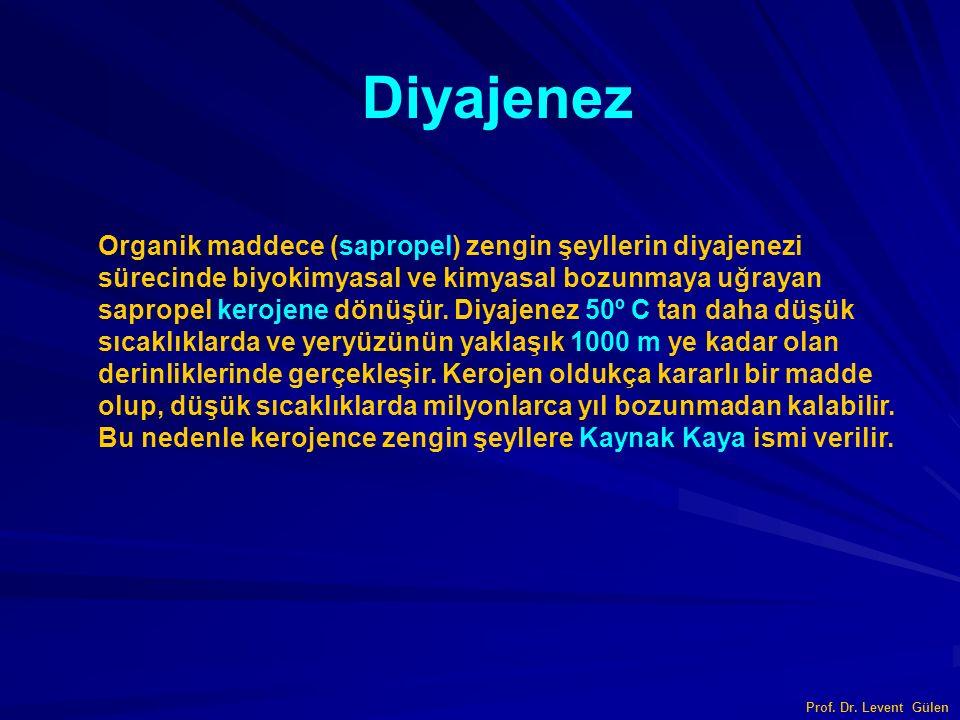 Prof. Dr. Levent Gülen Diyajenez Organik maddece (sapropel) zengin şeyllerin diyajenezi sürecinde biyokimyasal ve kimyasal bozunmaya uğrayan sapropel
