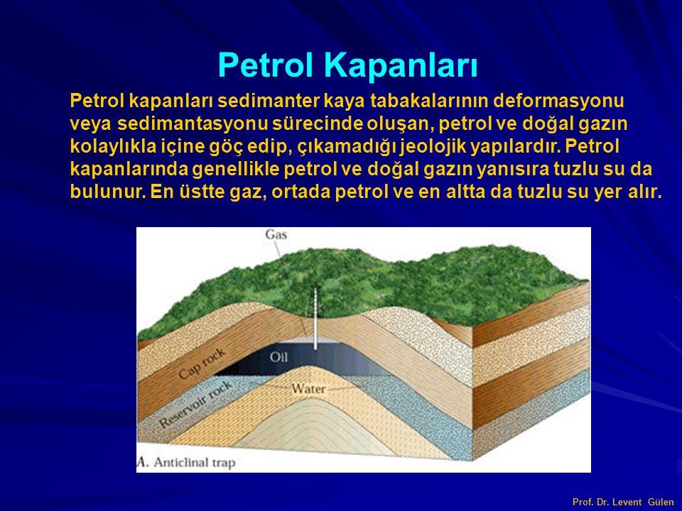 Prof. Dr. Levent Gülen Petrol kapanları sedimanter kaya tabakalarının deformasyonu veya sedimantasyonu sürecinde oluşan, petrol ve doğal gazın kolaylı