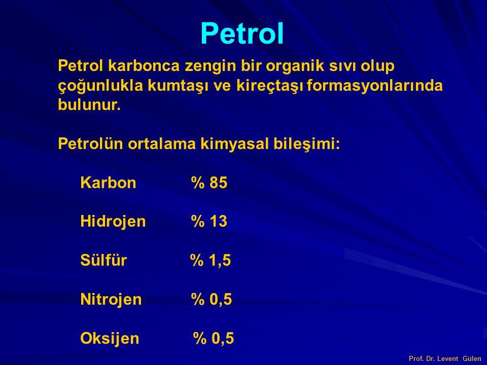 Prof. Dr. Levent Gülen Petrol Petrol karbonca zengin bir organik sıvı olup çoğunlukla kumtaşı ve kireçtaşı formasyonlarında bulunur. Petrolün ortalama