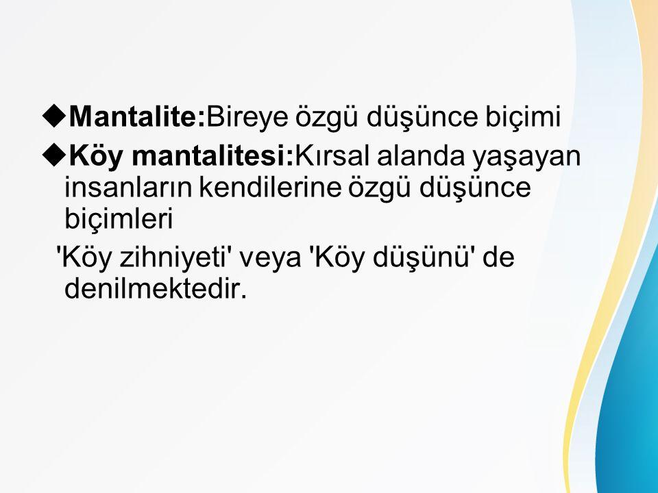  Mantalite:Bireye özgü düşünce biçimi  Köy mantalitesi:Kırsal alanda yaşayan insanların kendilerine özgü düşünce biçimleri Köy zihniyeti veya Köy düşünü de denilmektedir.