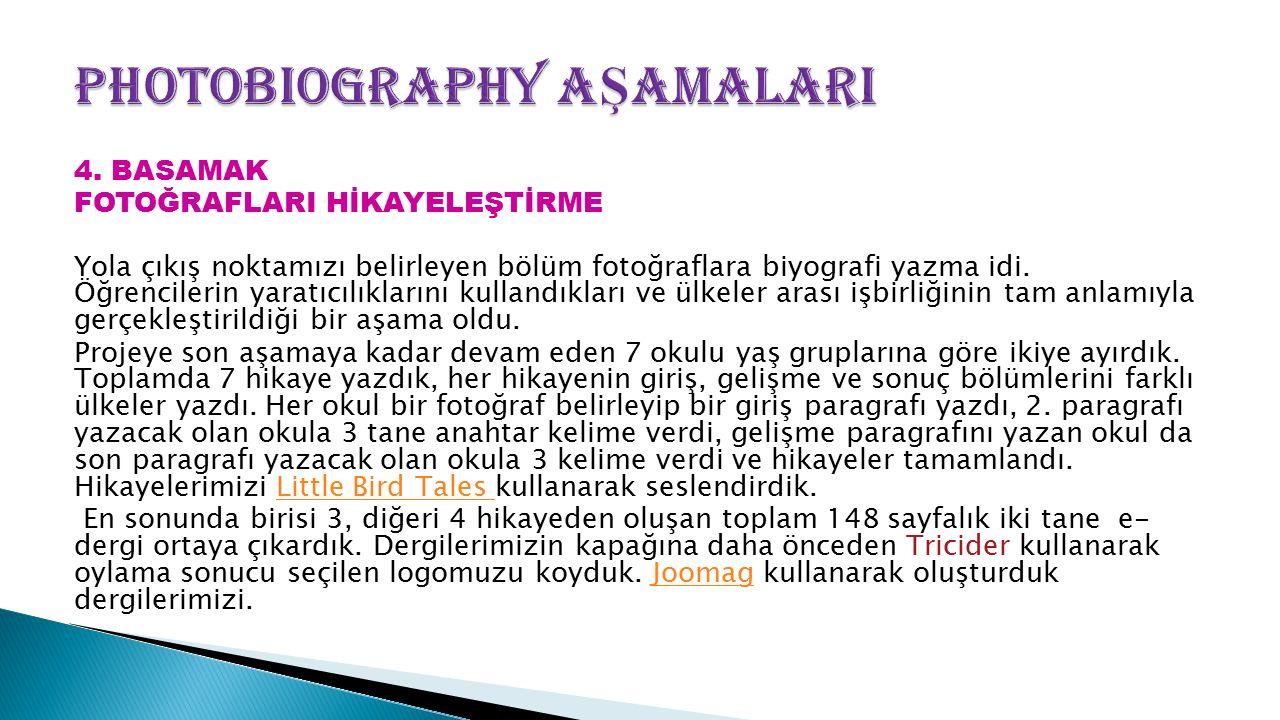 4. BASAMAK FOTOĞRAFLARI HİKAYELEŞTİRME Yola çıkış noktamızı belirleyen bölüm fotoğraflara biyografi yazma idi. Öğrencilerin yaratıcılıklarını kullandı