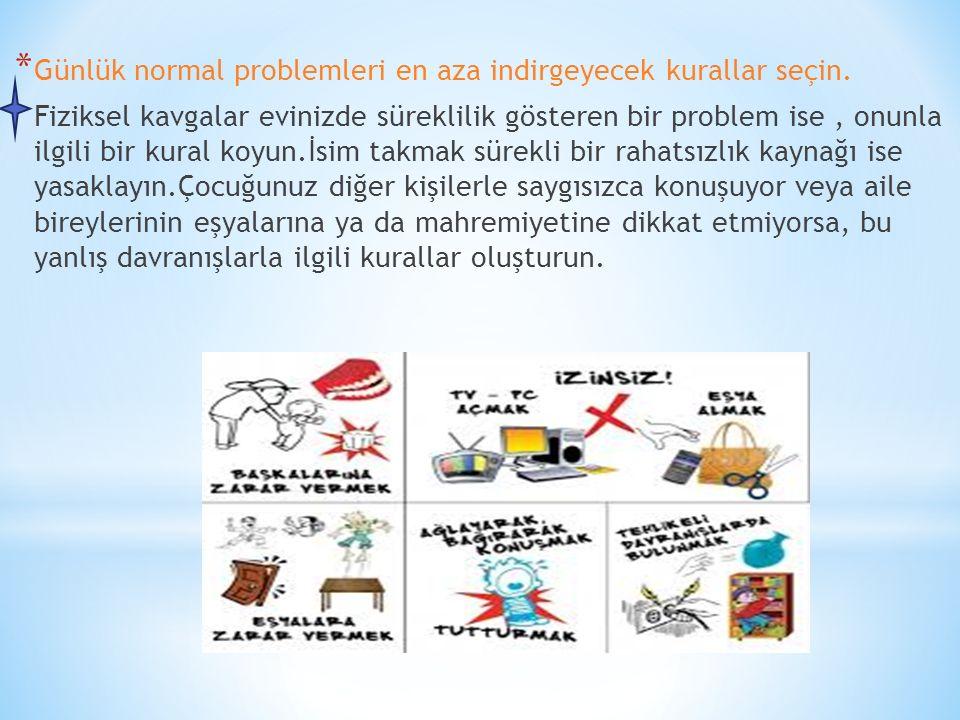 * Günlük normal problemleri en aza indirgeyecek kurallar seçin. Fiziksel kavgalar evinizde süreklilik gösteren bir problem ise, onunla ilgili bir kura