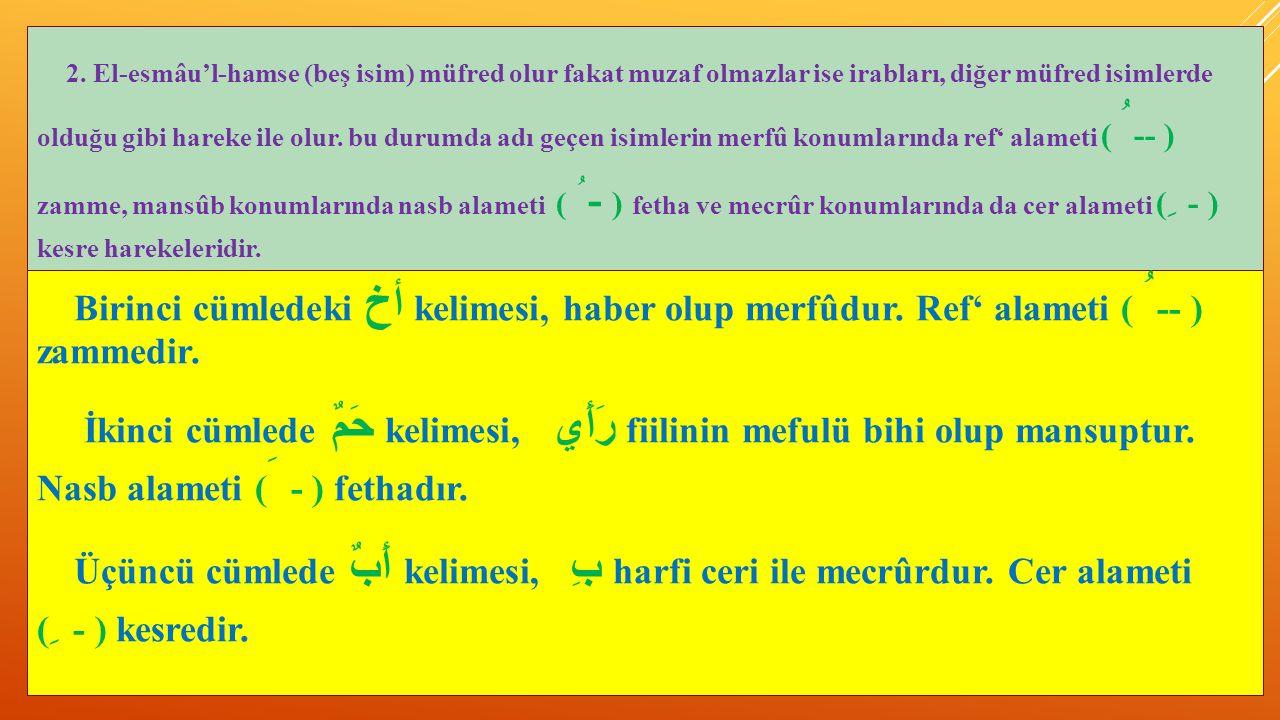 2. El-esmâu'l-hamse (beş isim) müfred olur fakat muzaf olmazlar ise irabları, diğer müfred isimlerde olduğu gibi hareke ile olur. bu durumda adı geçen