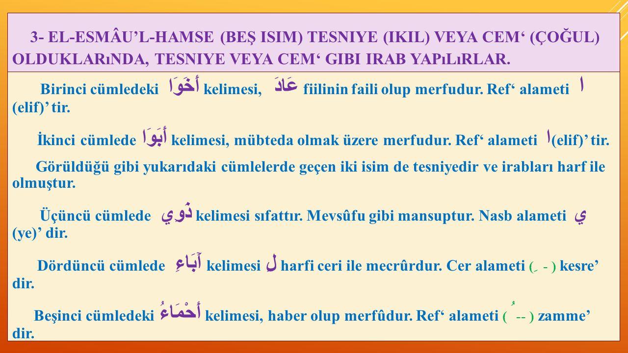 3- EL-ESMÂU'L-HAMSE (BEŞ ISIM) TESNIYE (IKIL) VEYA CEM' (ÇOĞUL) OLDUKLARıNDA, TESNIYE VEYA CEM' GIBI IRAB YAPıLıRLAR. Birinci cümledeki أَخَوَا kelime