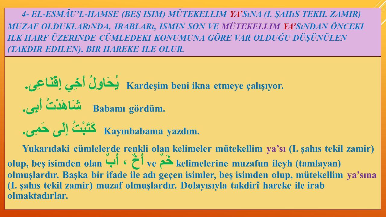 4- EL-ESMÂU'L-HAMSE (BEŞ ISIM) MÜTEKELLIM YA'SıNA (I.