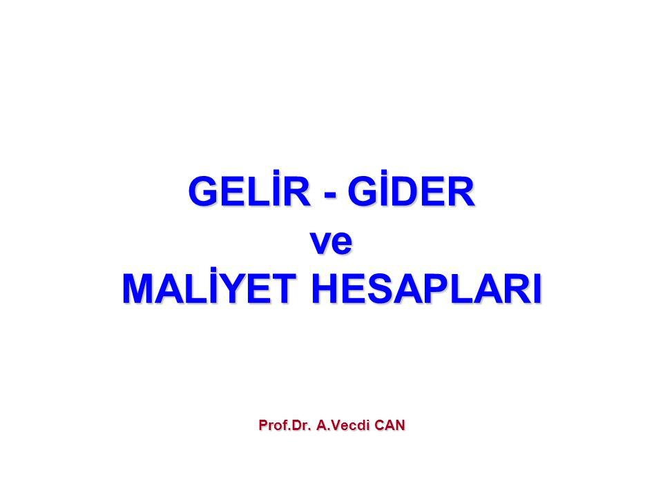 GELİR - GİDER ve MALİYET HESAPLARI Prof.Dr. A.Vecdi CAN