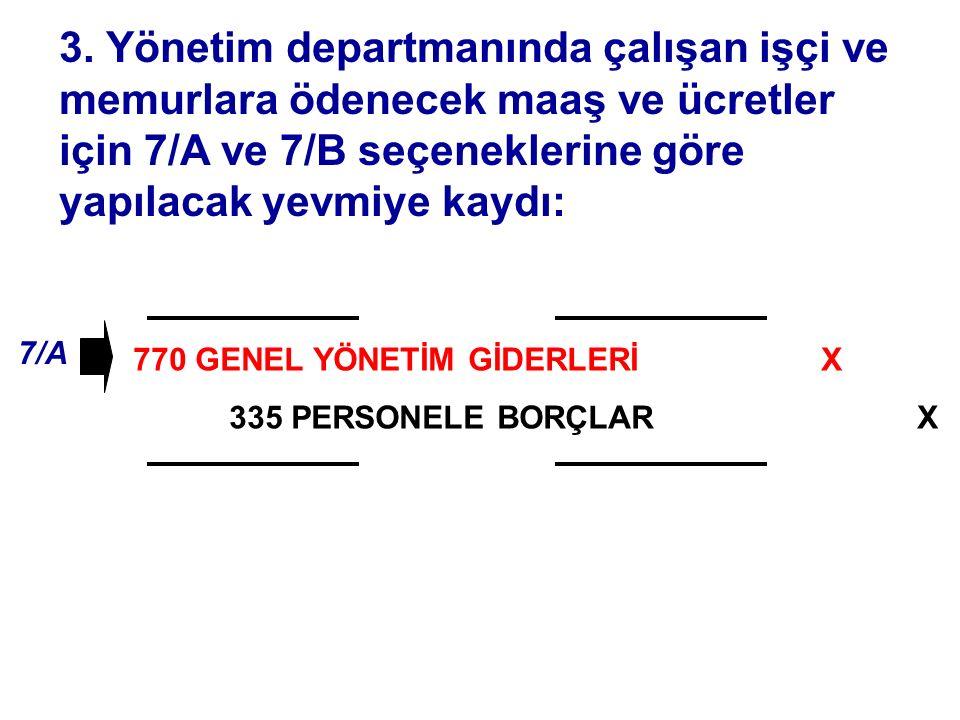 770 GENEL YÖNETİM GİDERLERİ 335 PERSONELE BORÇLAR 3.